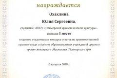 Охахлина Юлия 1 место (конкурс отчетов по производственной практике)