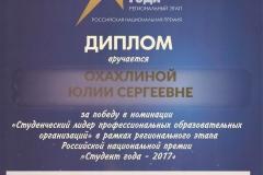 Диплом Охахлина Юлия Сергеевна