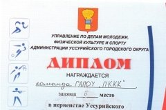 Командный диплом 2 место плавание эстафета 02.03.2018 (м)