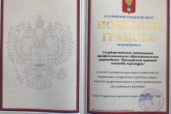 Почетная грамота Главы Уссурийского городского округа 2018